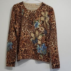 Neiman Marcus 100% Cashmere animal print sweater L
